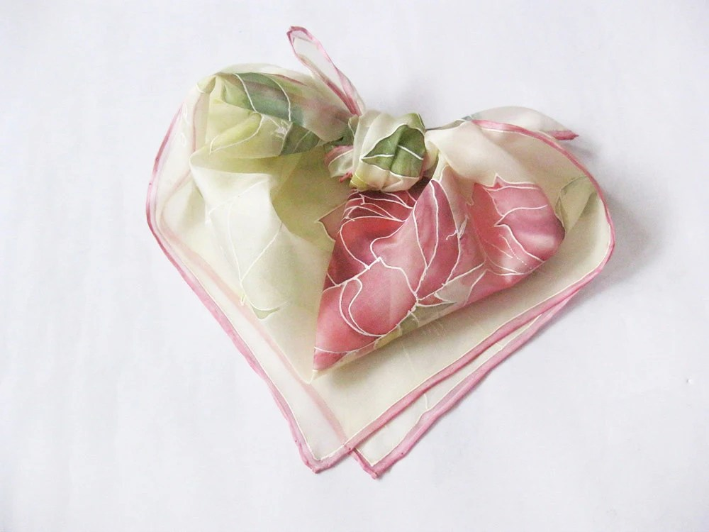 Hand painted Silk scarf Valentines gift Pink flowers roses Spring accessory - made TO ORDER - DEsilk