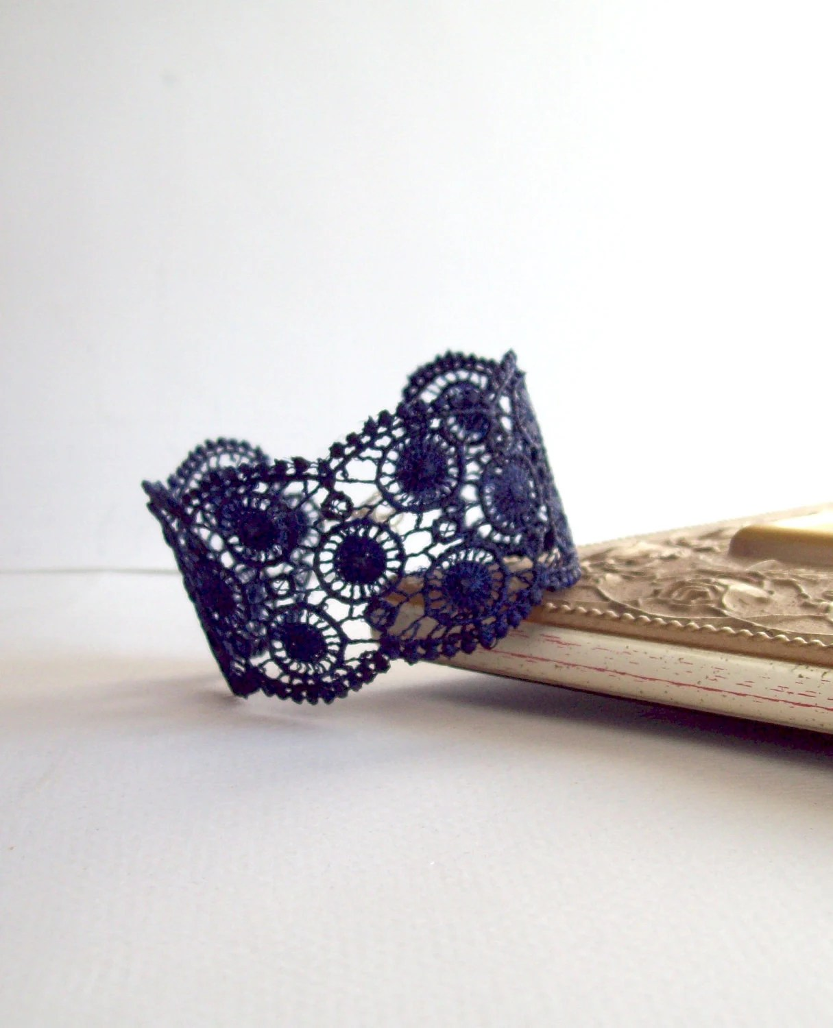 Lace Cuff Navy Blue Bracelet, Bridesmaid gift, Unique gift for her, free gift wrap - TheParrisDomestic
