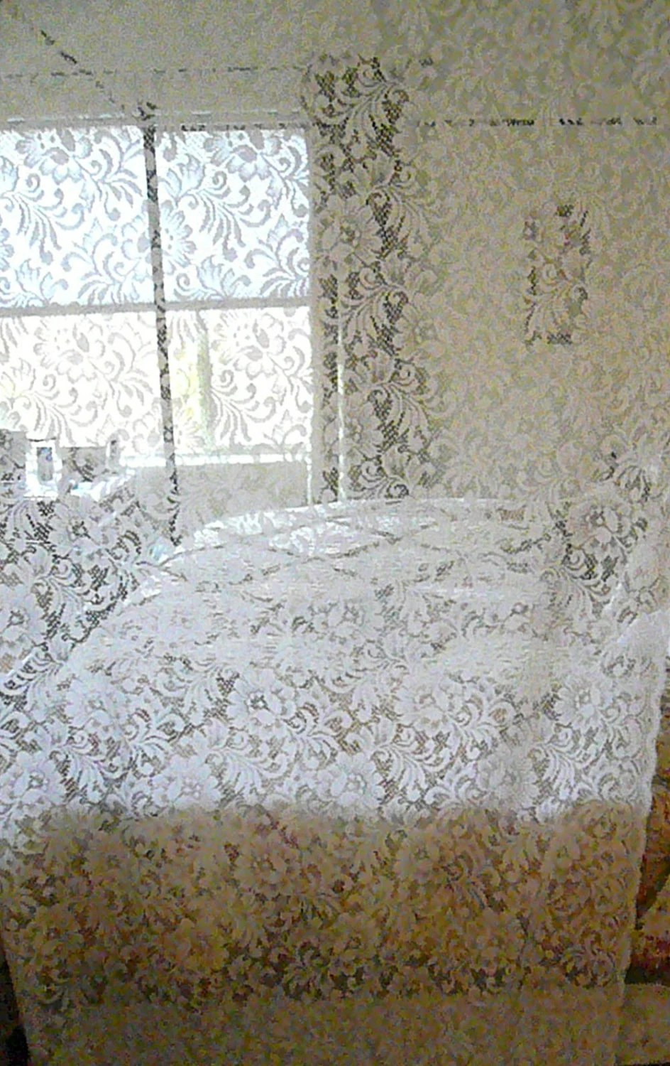 Reserved Vintage Lace Curtains Shabby Cottage Chic Two Panels