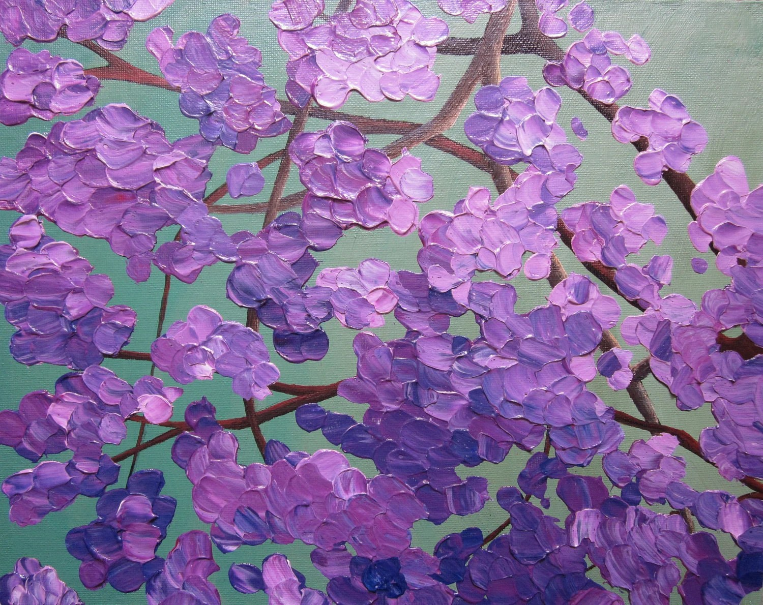 Flowering Tree Painting Acrylic Abstract Floral 11X14 Knife
