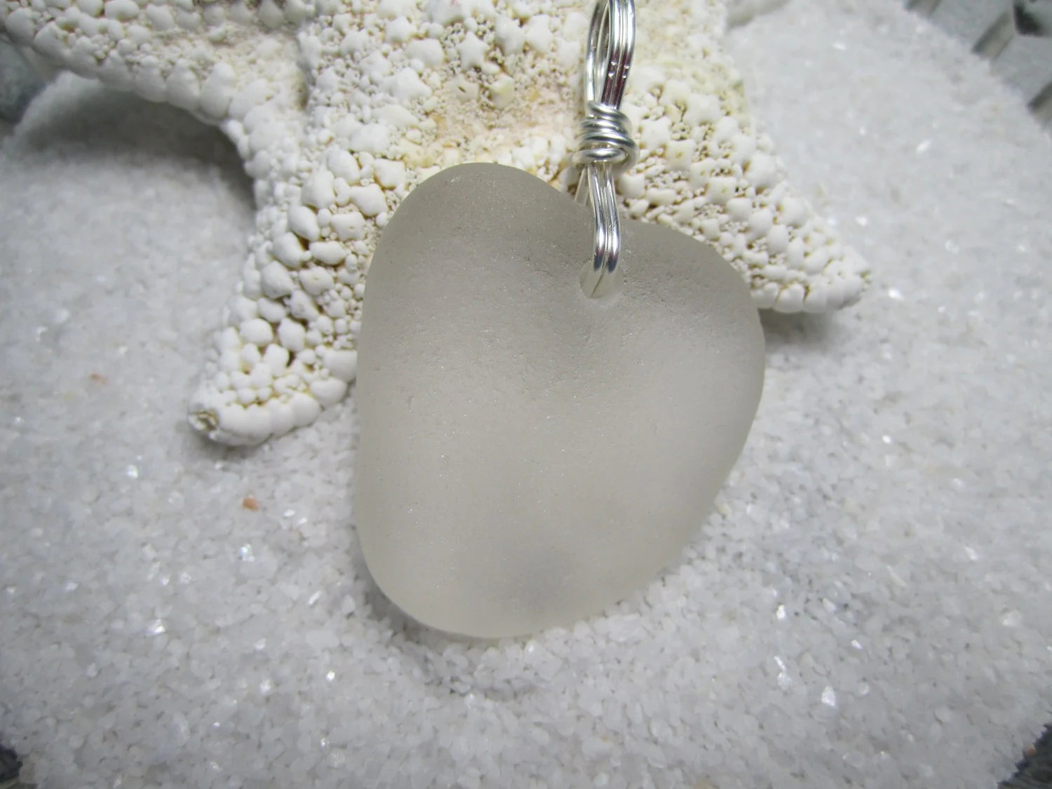 Something in White, Beach Glass Heart , Wedding Necklace - SeaBaublesbyEvaLynn