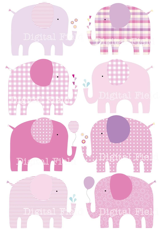 Baby Girl Pink Elephants Clip Art Set Printable By