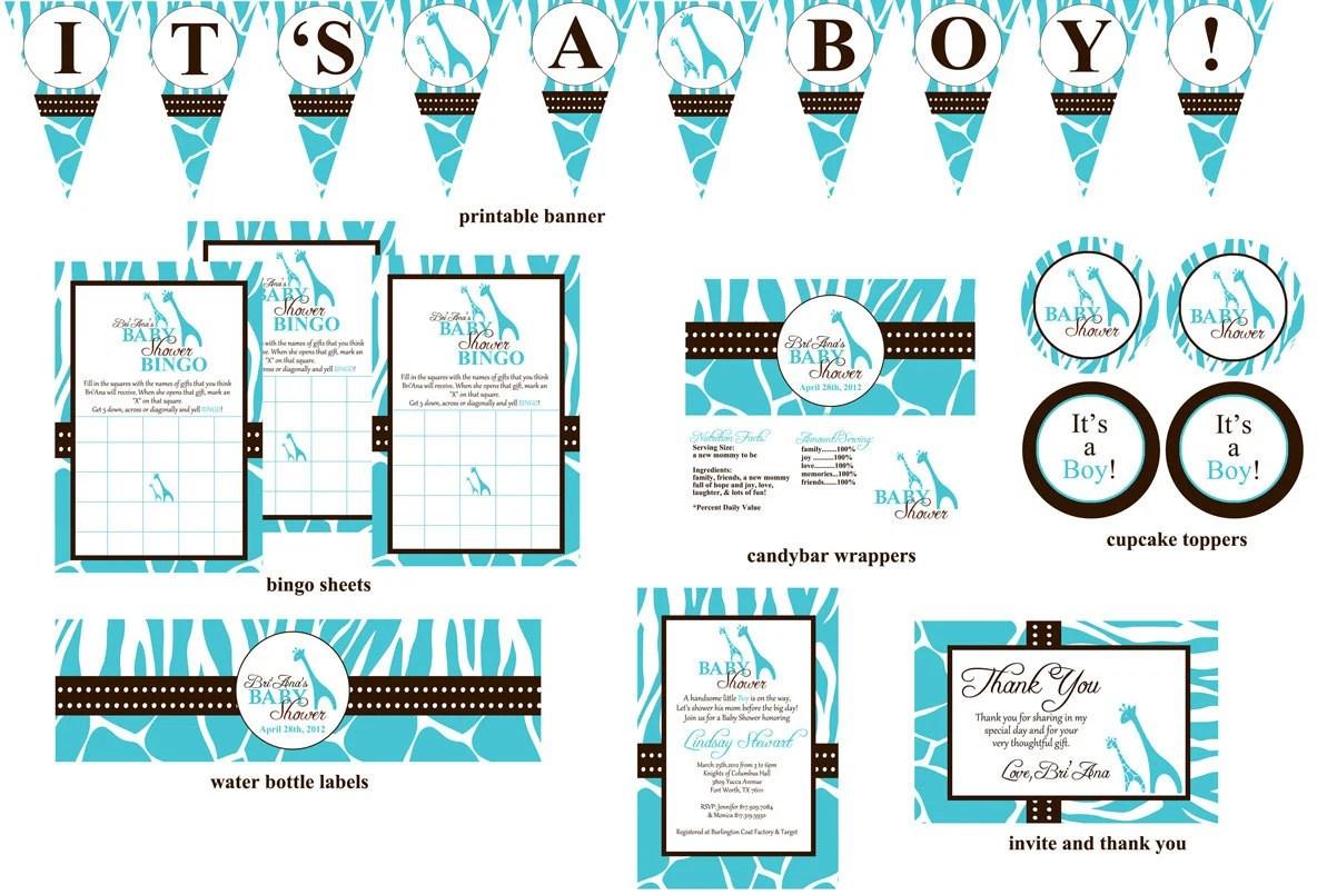 Wild Safari Baby Shower Printable Package By Digitalparties