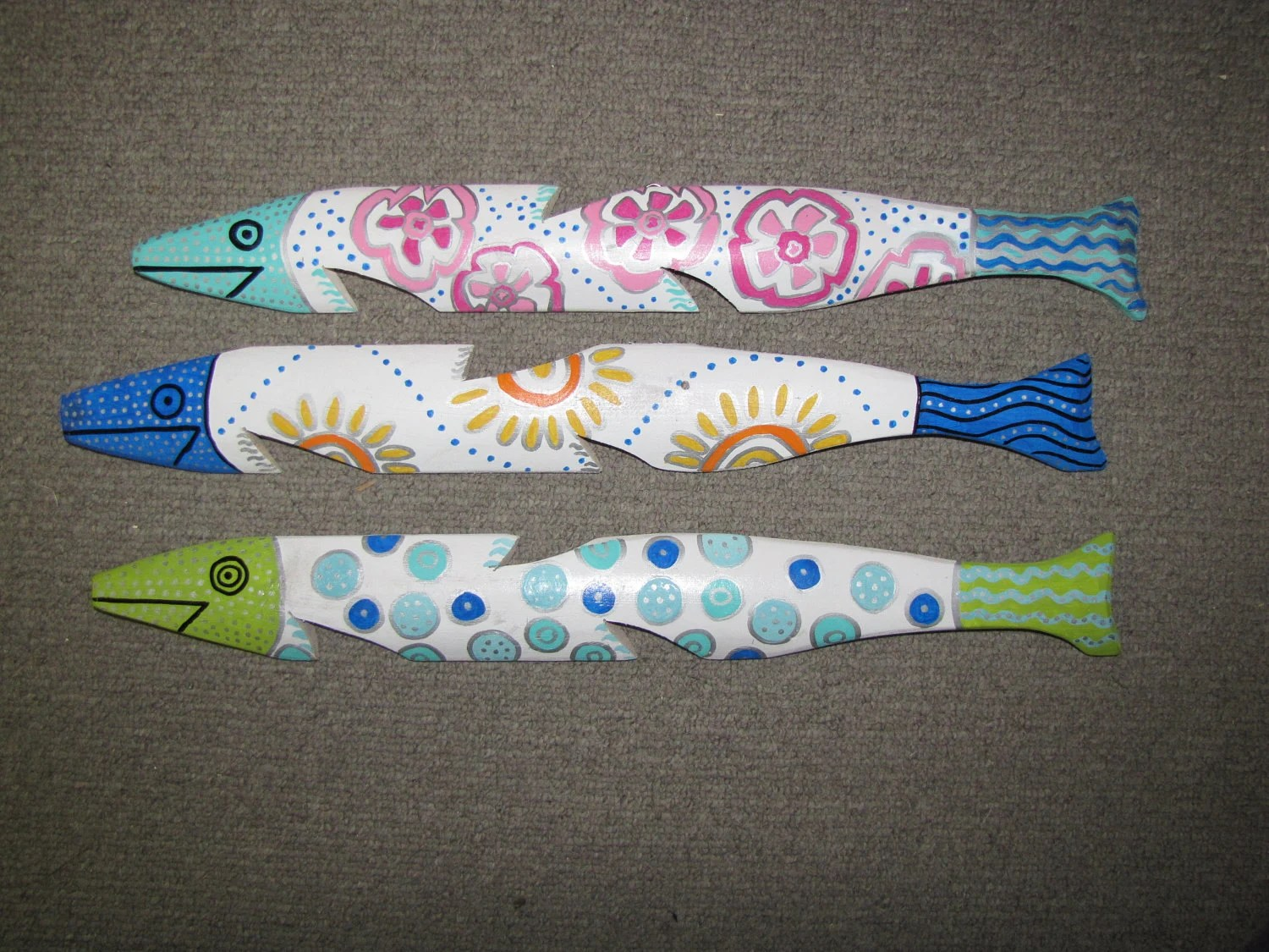 Hand Painted Fish Made From Salvaged Picket Fence