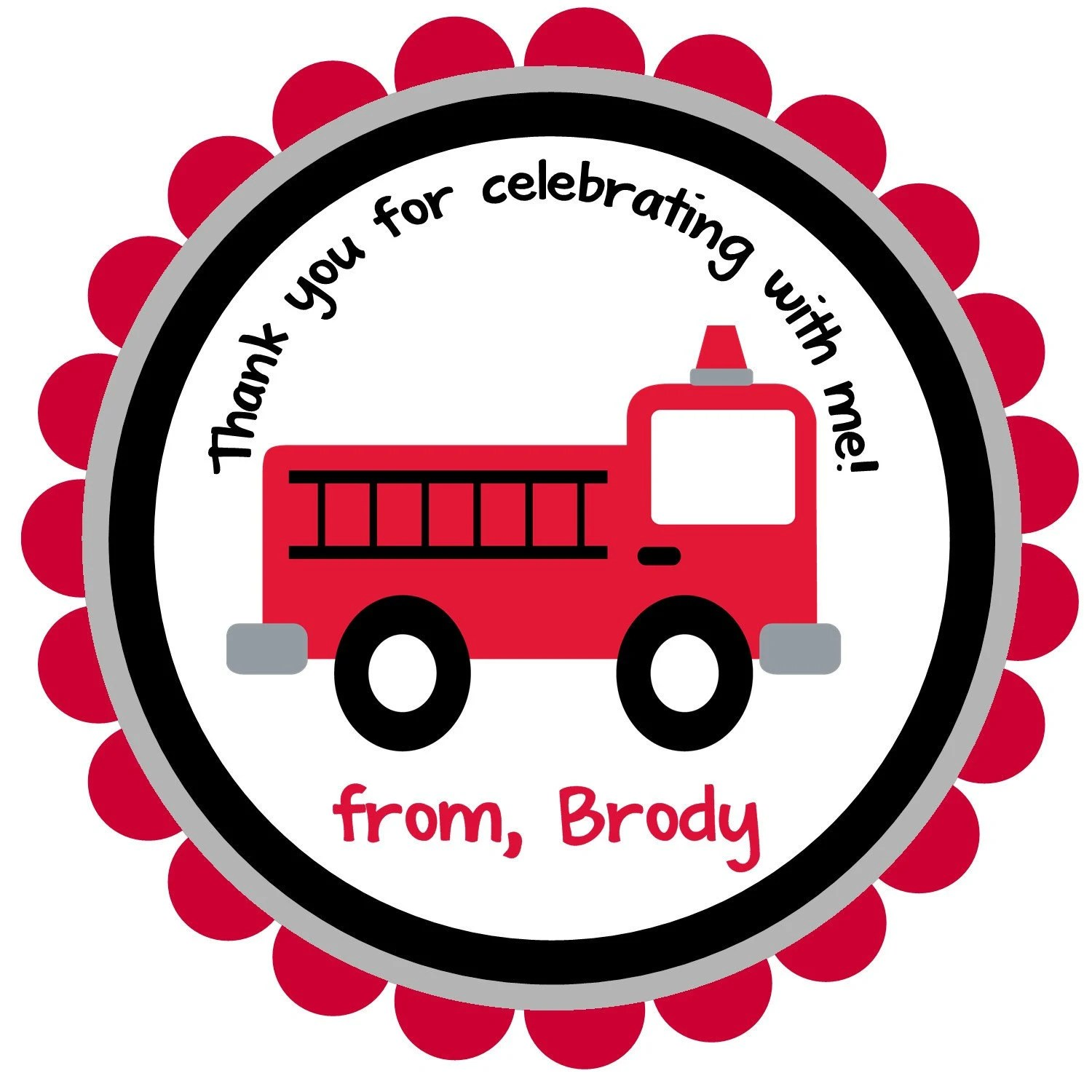Firetruck Fire Truck Round Labels Stickers For Party Favors