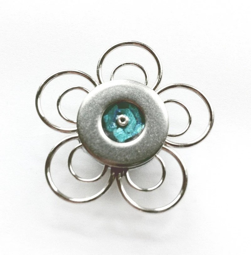 Turquoise Flower Magnet, Metal Magnet, Silver Flower, Small Magnet, Unique Magnets, Flower Magnet - LoralynDesigns
