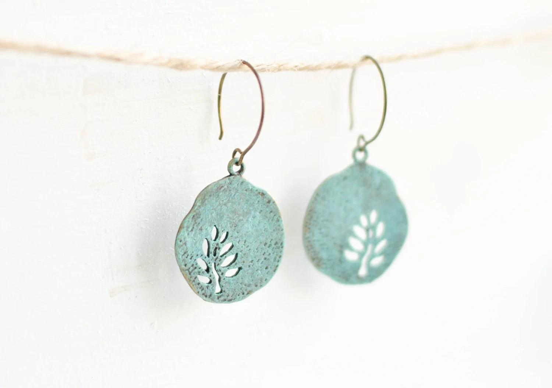 Blue round earrings with tree - patina earrings - copper ware - CvetCvet