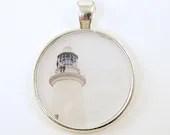 Lighthouse Pendant - White Silver Circle Resin Photography Pendant - BeautifulByCharlene