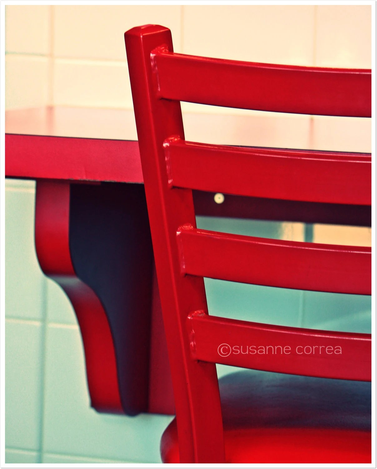 Red Chair, Diner, food, dining, bar, photography, fine art photography - SusanneCphoto