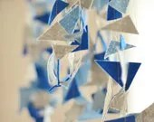 Baby shower decorations, Mykonos blue and gray nursery, freeform triangle banner garland - CoutureByAyca