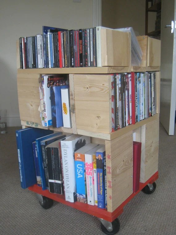 Portable Book  / DVD / CD Shelving Unit on castors