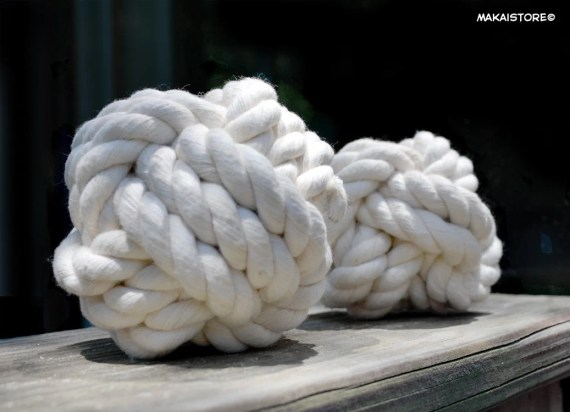 All Natural Cotton Rope Dog Toy - Ball - Monkey's Fist Knot // Large