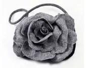 Designer Bag Felted Bag Nunofelt Handbag Rose Purse wild Felt Nuno felt Silk grey gray fog fairy floral fantasy shoulder bag Fiber Art boho - filcant