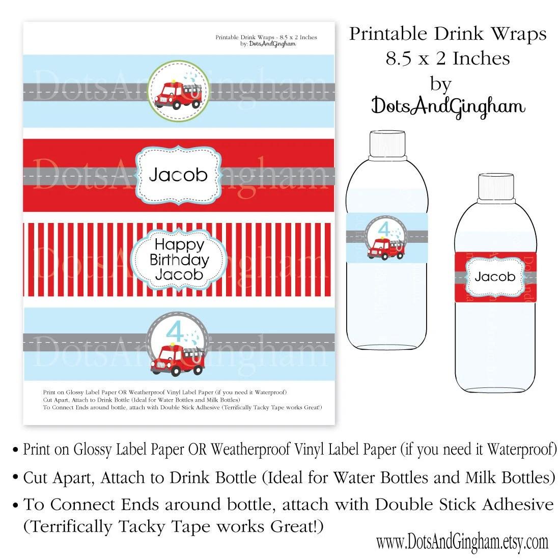 Fire Truck Water Bottle Label Drink By Dotsandgingham On Etsy
