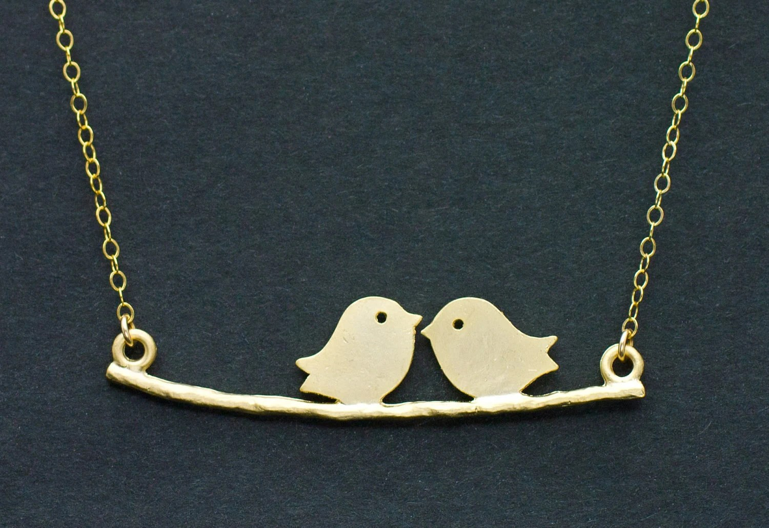 SALE - Love Birds on Branch Necklace - 14k GOLD Filled - anniversary gift, mom, daughter, sister gift, cute gift