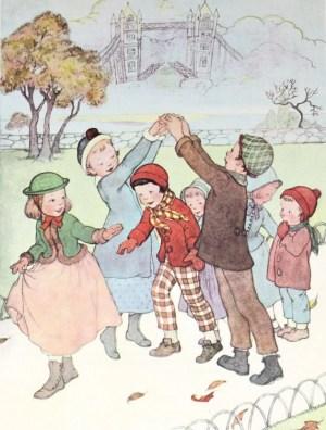 Children Playing London Bridge Game