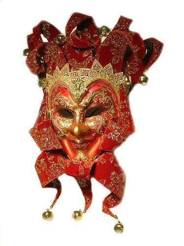 Hand Made Venetian Red/Gold Jester MASQUERADE Carnevale MASK.  OOAK - Frankiesteinz