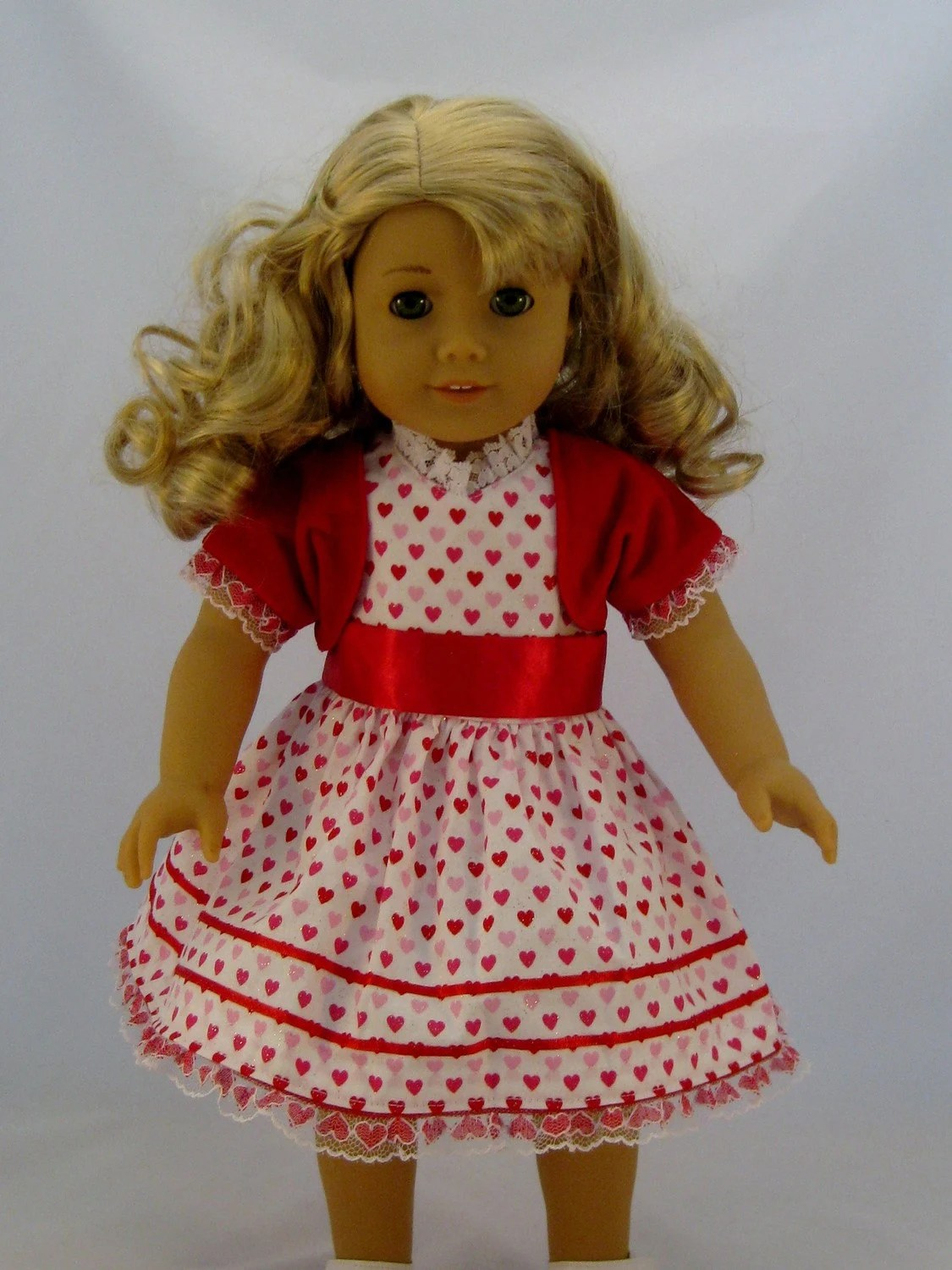 Valentines Day Pink and Red Mini Heart Dress fits American Girl or other 18 inch Dolls