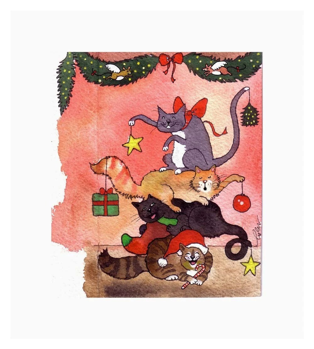 Cat Christmas Card Funny Cats Card Cat Art By Tylersworkshop
