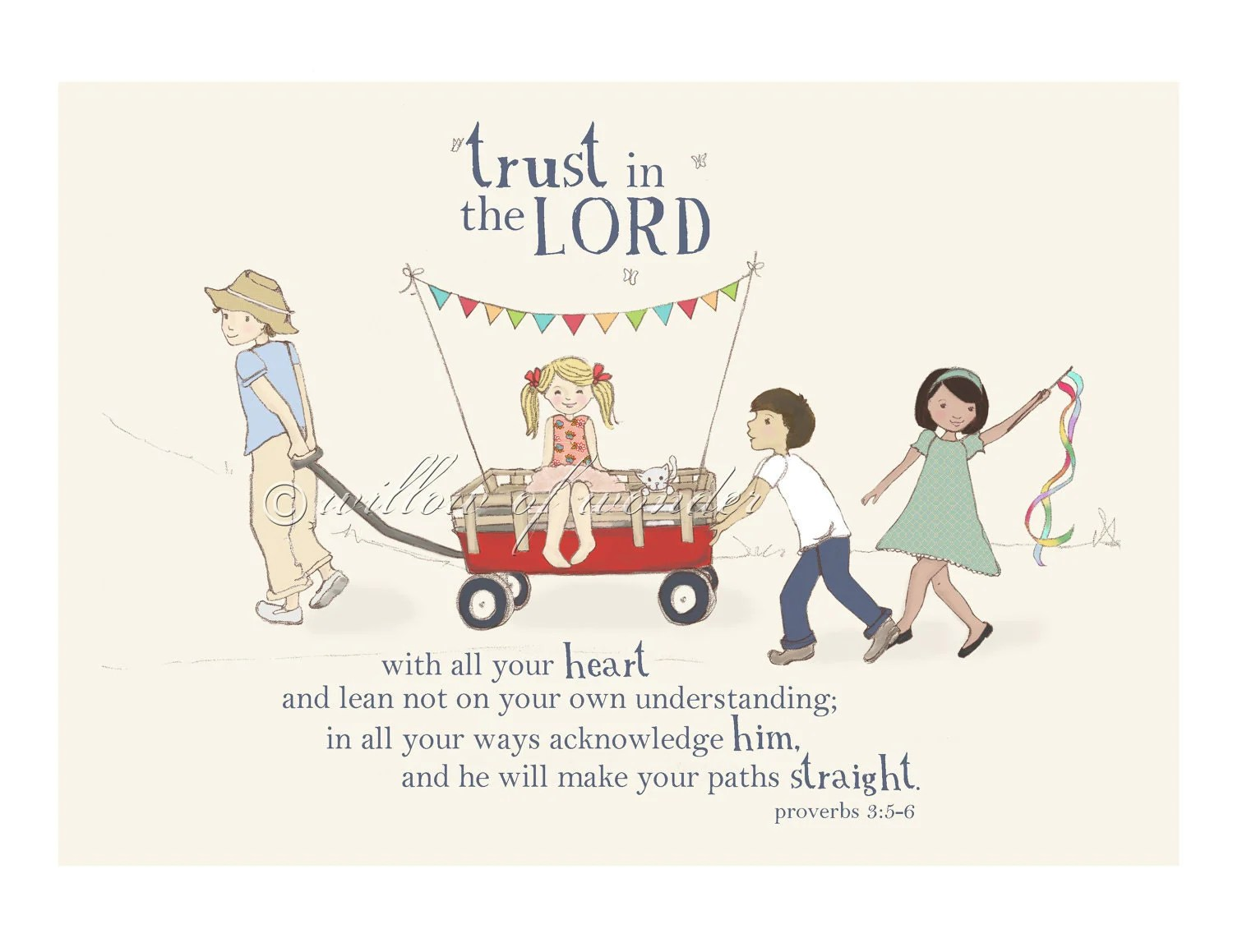 Trust In The Lord Scripture Art Print Children By