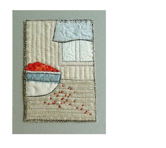 RED BERRIES, Mini Textile Art, Embroidery Art, Wall Art