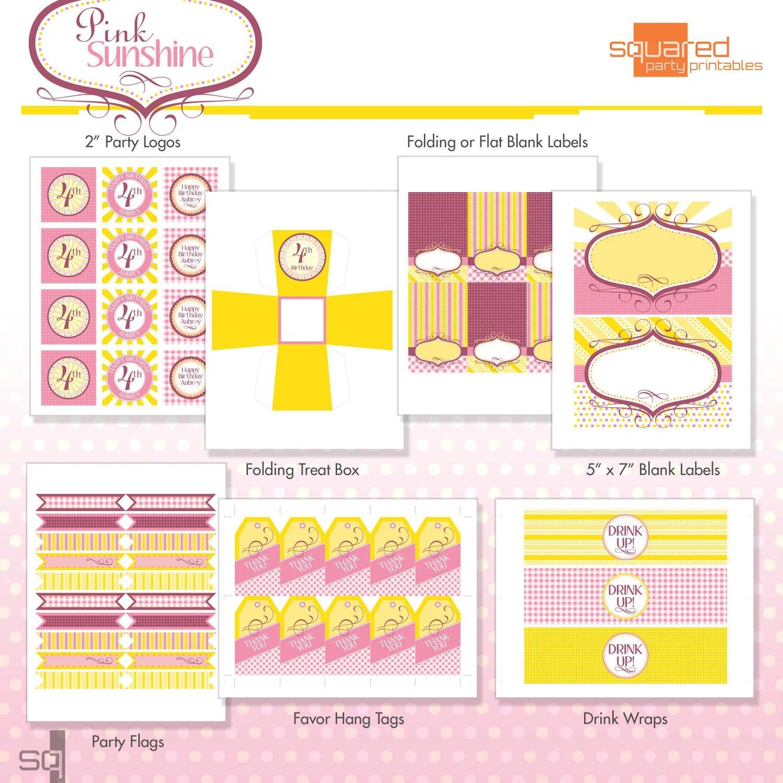 Printable Pink Lemonade Birthday Party Package Diy