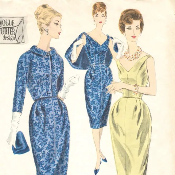 Detail of 1950s Vogue Couturier pattern, Vogue 199