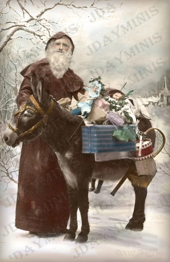French Christmas Santa Or Pere Noel Donkey With Gifts