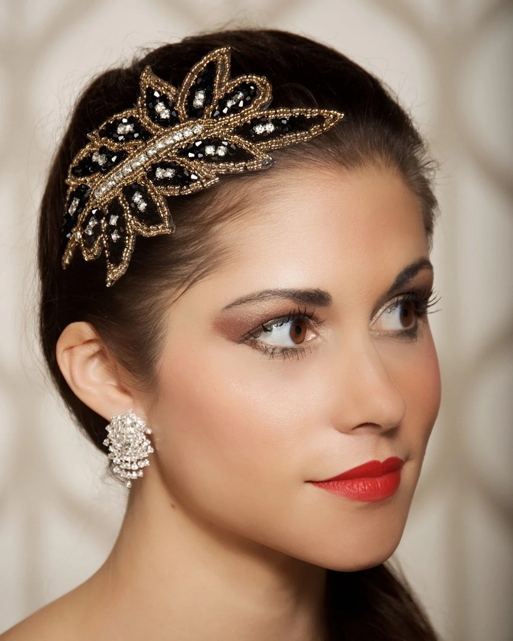 Gastby Party Headpiece Black Art Deco Hair Accessory Great
