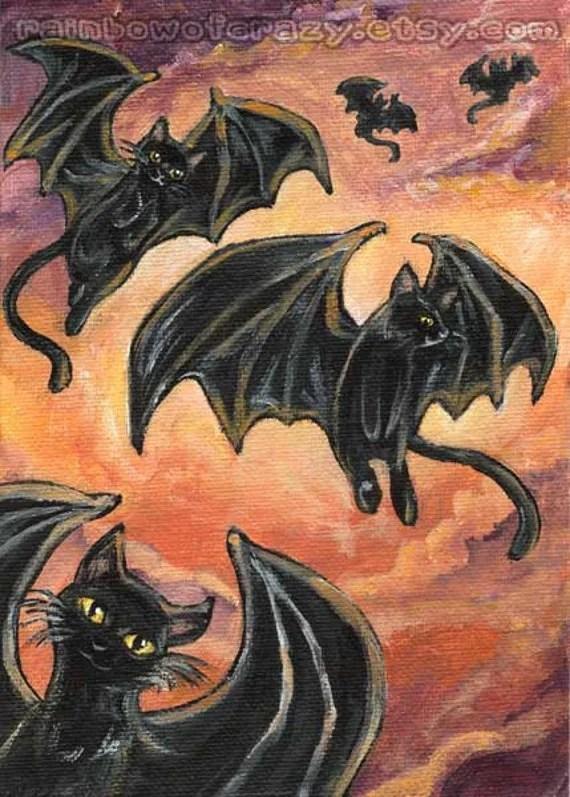 Black Cat Print Halloween Decoration Bat Wings Fantasy