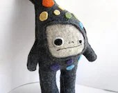Gray and Rainbow Dot Strange Foo - Recycled Wool Plush Toy - sighfoo