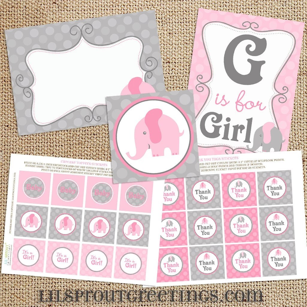Pink Elephant Baby Shower Printable Decorations Instant