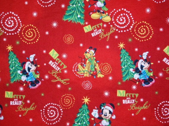 Disney Mickey Mouse Christmas Fabric By Ksewingbasket On Etsy
