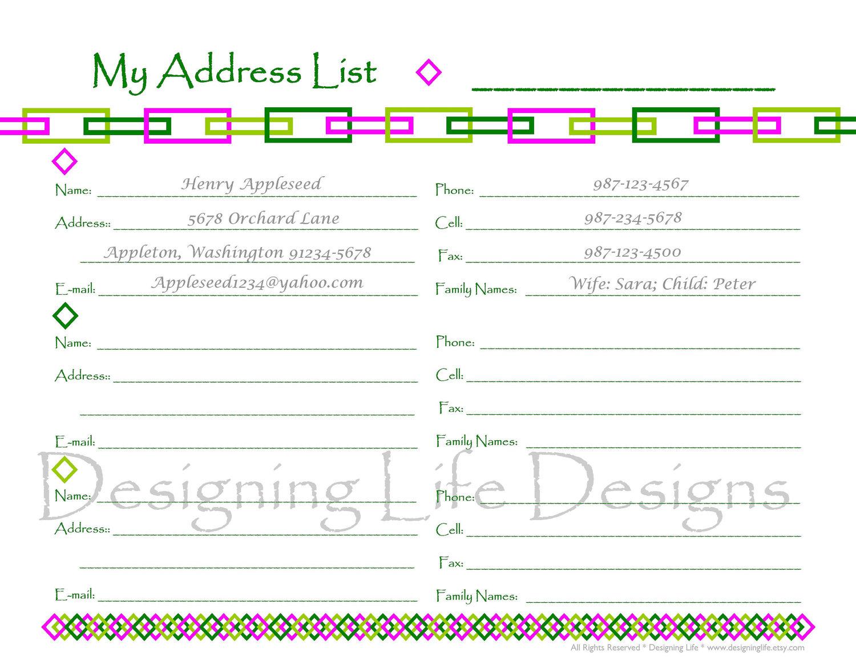 Printable Address Book Sheets