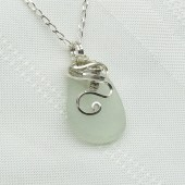 White Sea Glass Necklace - Beach Glass Pendant - Seaglass Jewelry - Wedding White - StoneNest