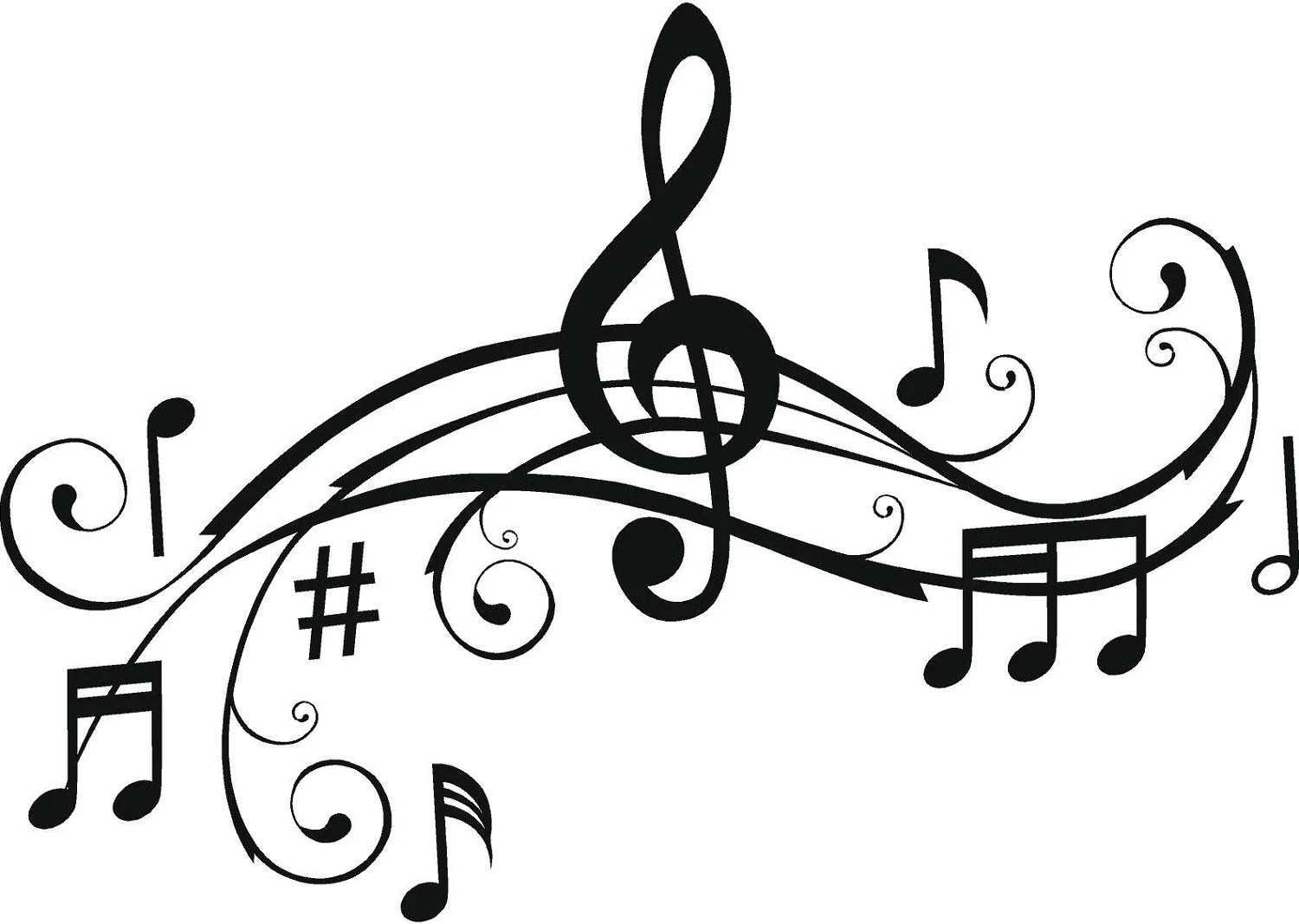 Music Notes Wall Art Words Vinyl Lettering Stickers