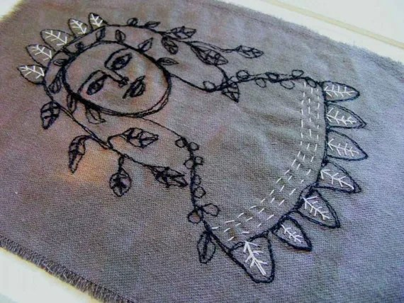 May queen, flower girl - original embroidery art