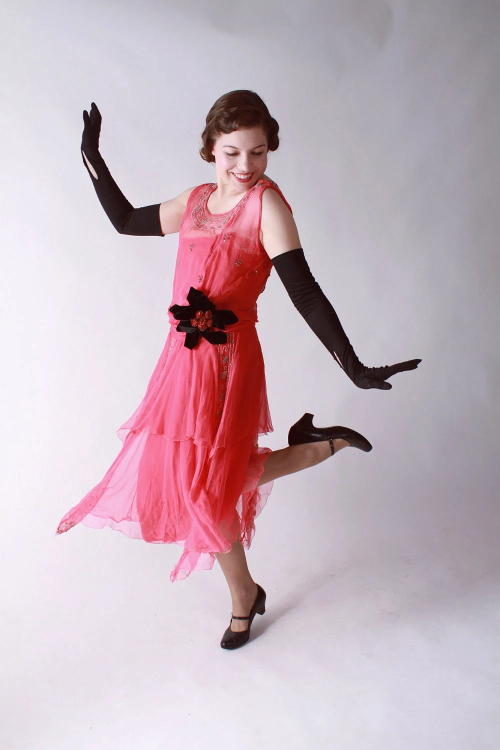 Vintage 1920s Dress // Fantastic Hot Pink Chiffon Flapper Evening Dress with Rhinestones and Velvet Flower