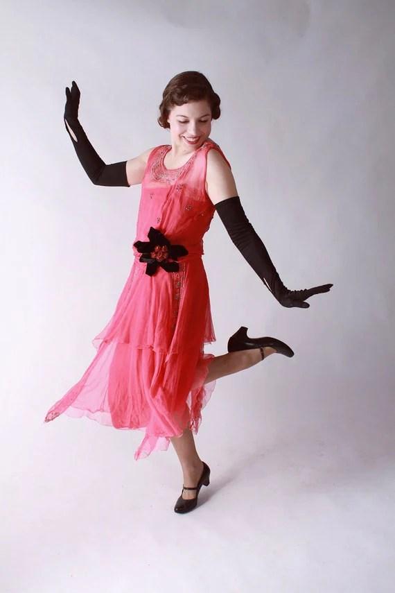 Vintage 1920s Dress // Fantastic Hot Pink Chiffon Flapper Evening Dress with Rhinestones and Velvet Flower