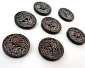6 Dark Brown wooden button - white ethnic pattern 25mm  (120E) - AnnyMayCraftSupplies