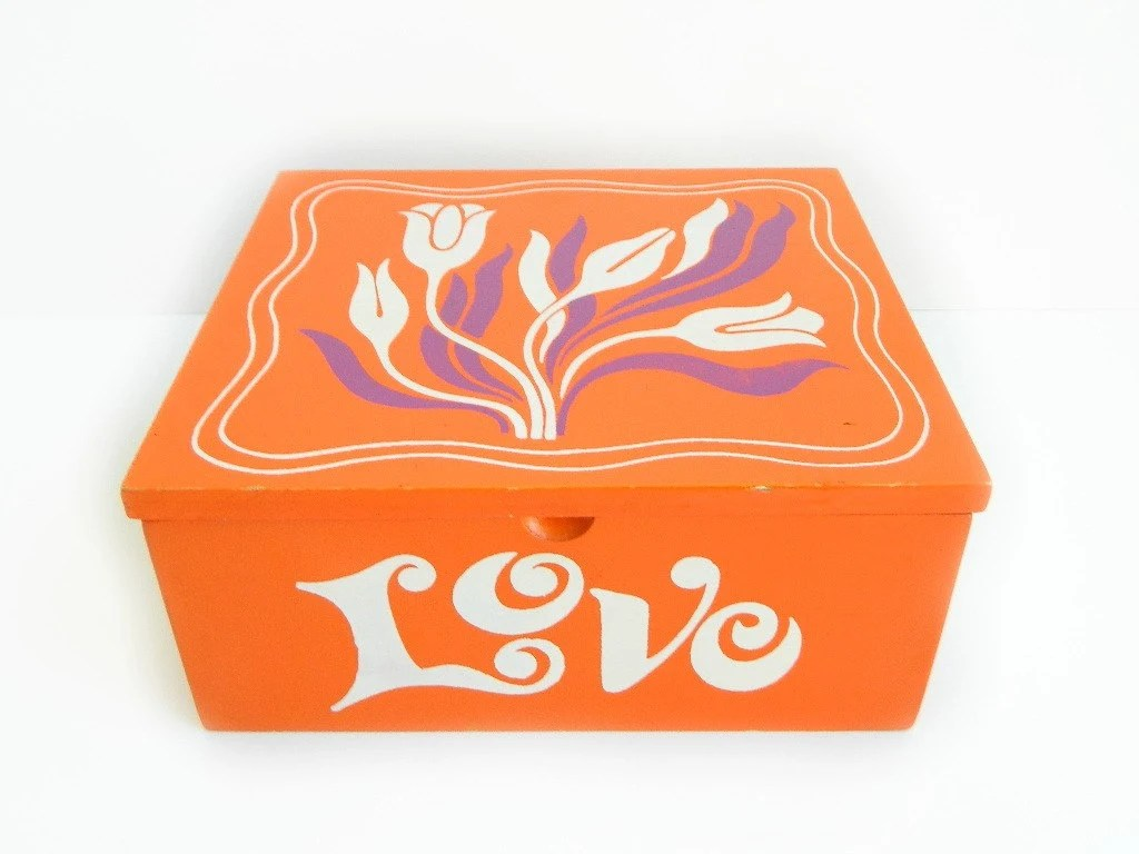 Pride Creations Orange LOVE Jewelry Storage Box - MonkiVintage