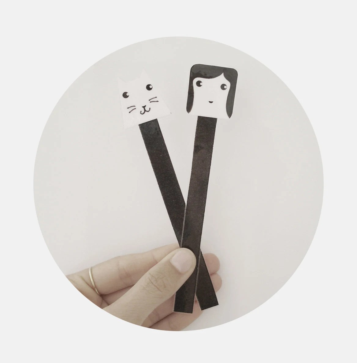 Little girl and her cat bookmark set-cute-unique-black and white - MILKANDPAPER