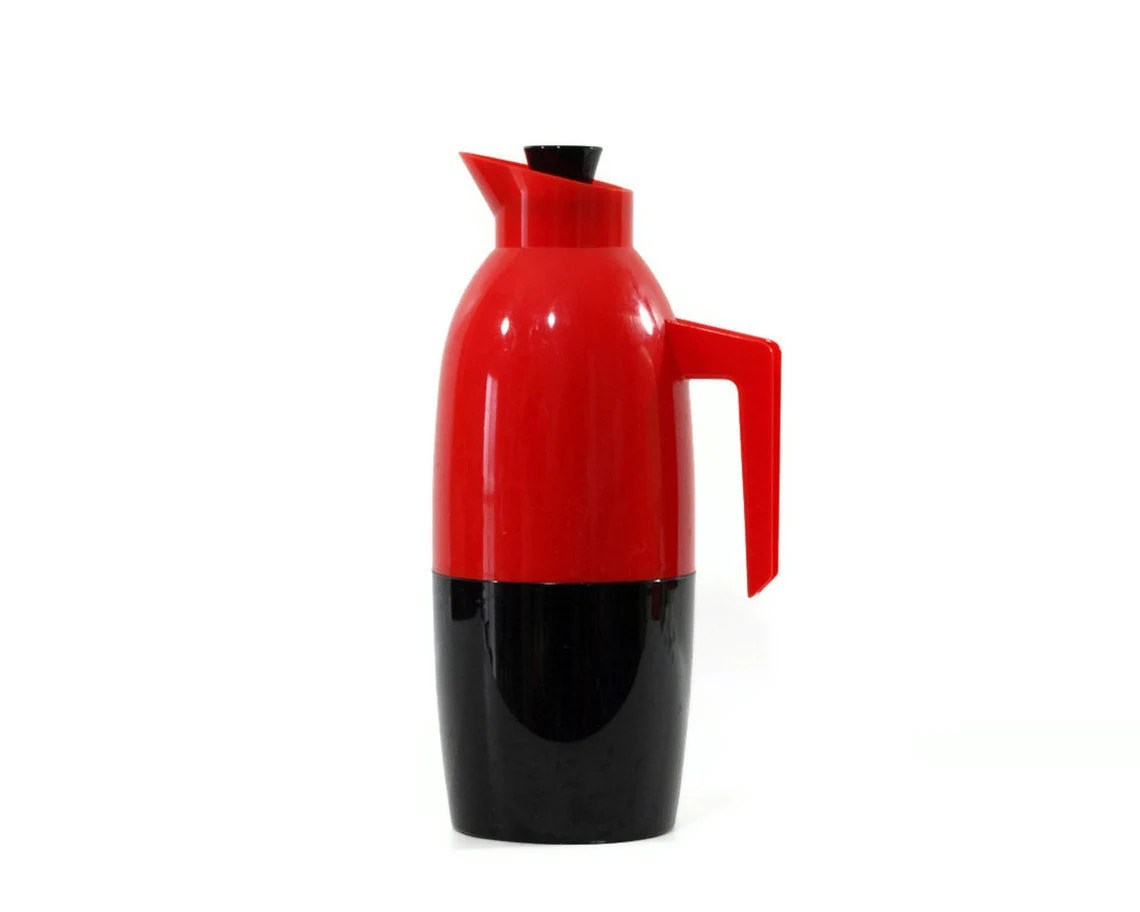 Mid Century Modern Thermos Carafe, Rosendahl Sweden, Red and Black - GizmoandHooHa