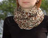 Cream Beige Camel Brown Black Leopard Printed Cotton - Cashmere Loose Infinity Scarf , Shawl , Neckwarmer - Myvera