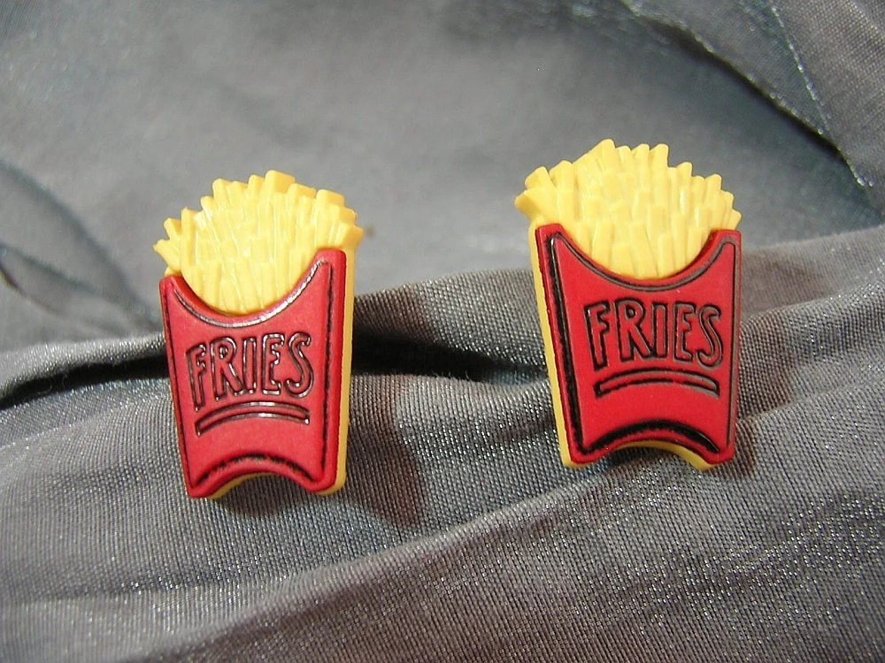 French Fries Post Back Earrings - Handmade by Rewondered D225E-55508 - Rewondered
