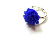 Cobalt Blue Chrysanthemum Flower Silver Toned Adjustable Ring - Glamour365