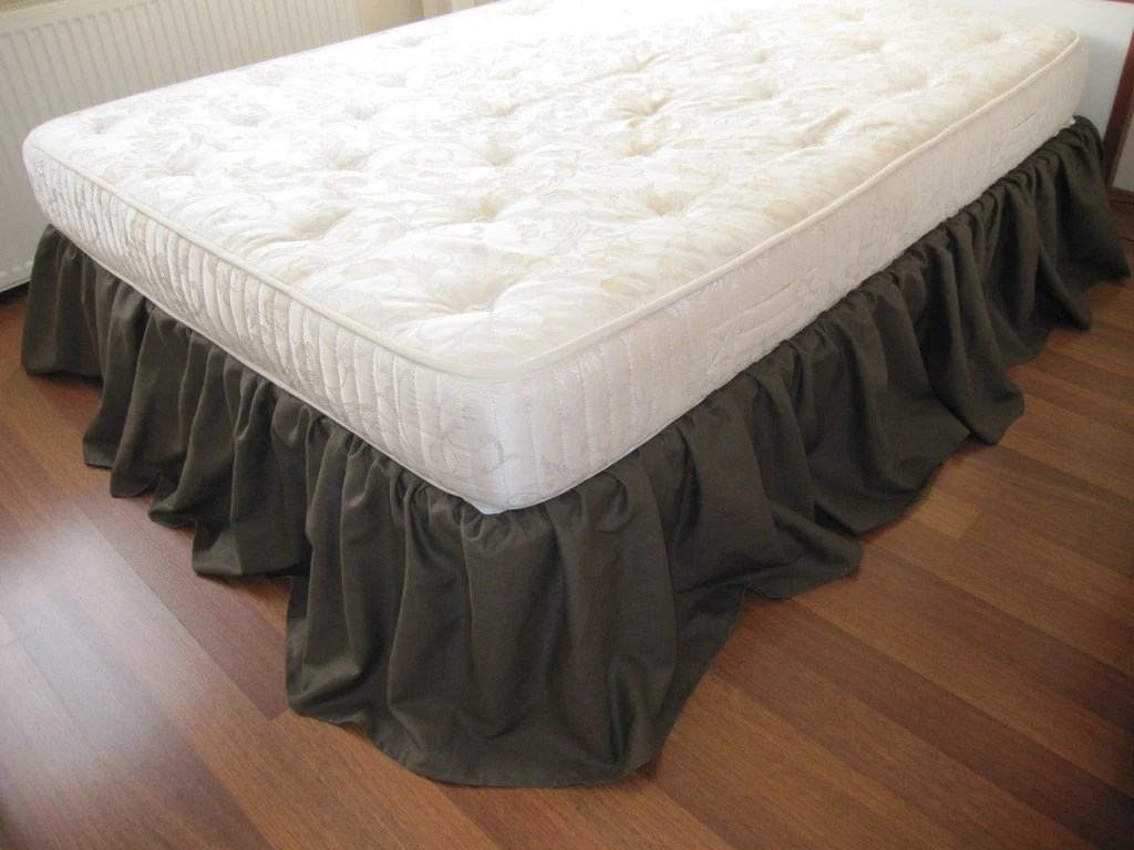 Cal King Or Queen Bed Skirt Dust Ruffle Solid Dark Brown