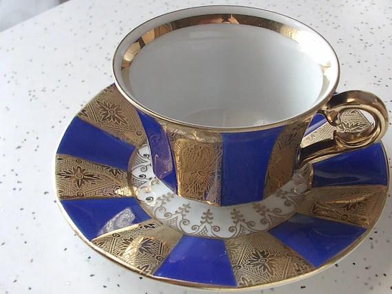 vintage art deco demitasse tea cup and saucer set, blue gold, winterling bavaria germany porcelain - ShoponSherman