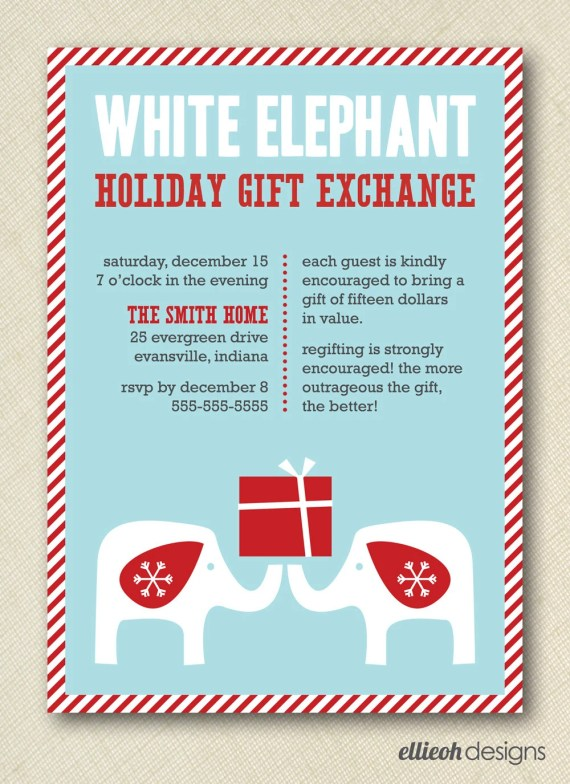 White Elephant Gift Exchange Invitation Poem | Onvacationsite.co