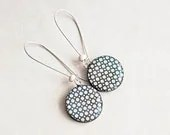 Black white polka dot earrings - Round dangle black earrings - Polka dot jewelry - Lepun